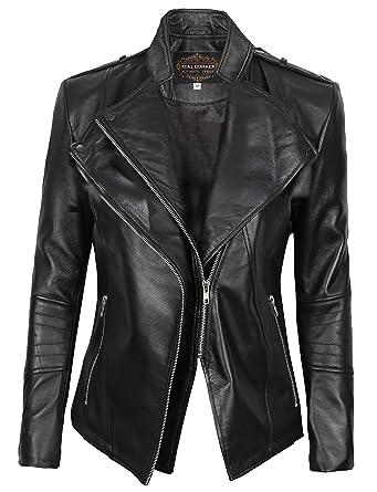 4e337547f79 Decrum Womens Leather Jackets - Leather Moto Jacket Women Black | [1300411]  Monica,