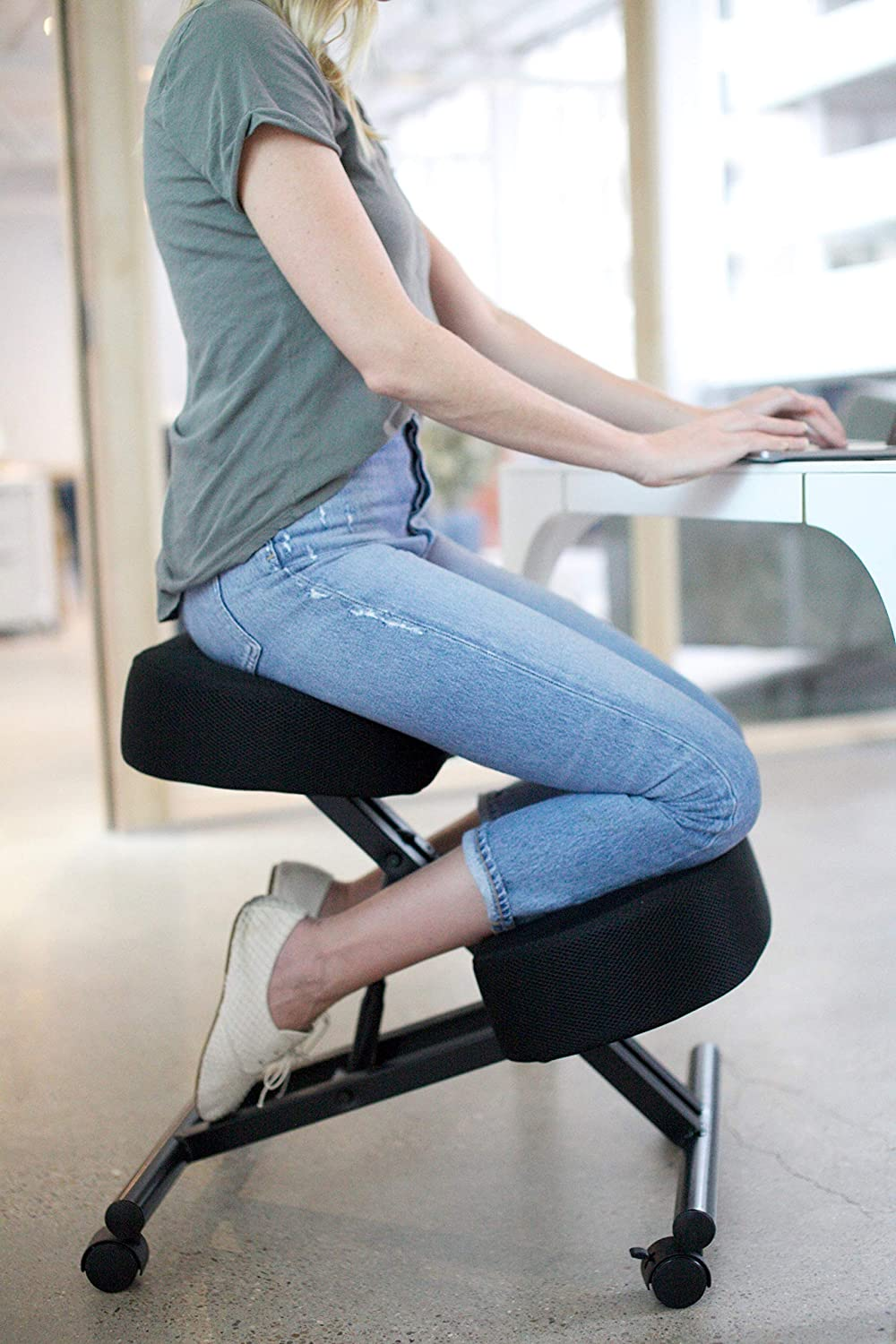 Sleekform Kneeling Posture Chair | Ergonomic Office Desk Knee Stool Relieving Back & Neck Pain | Computer Seat, Wheels & Adjustable Height | Backless Meditation Seat | 4