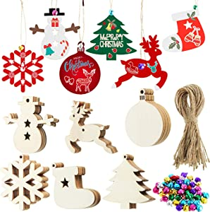 180 Pieces Christmas Ornaments Set, Unfinished Wood Ornaments Christmas Tree Snowflake Reindeer Light Bulb Snowmen Boots Wooden Ornaments with Colorful Bells and Rope for Christmas Hanging Decor