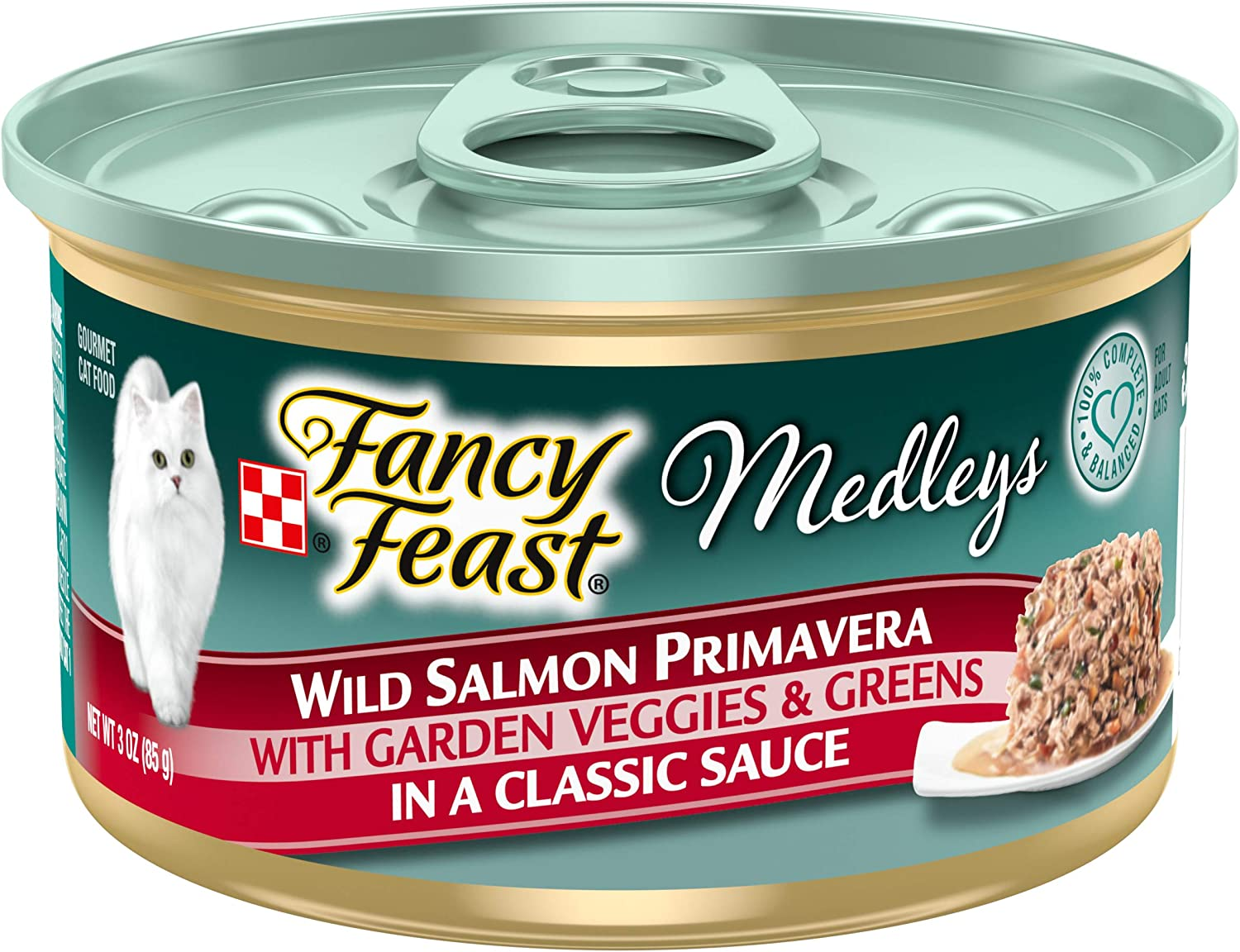 Purina Fancy Feast Wet Cat Food, Medleys Wild Salmon Primavera With Garden Veggies & Greens in Sauce - (24) 3 oz. Cans