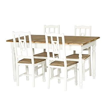 PAJOMA 09072 Set Esszimmer + 4 Stühle Im Landhausstil Claire,  Holzfaser/Paulownie, Tisch