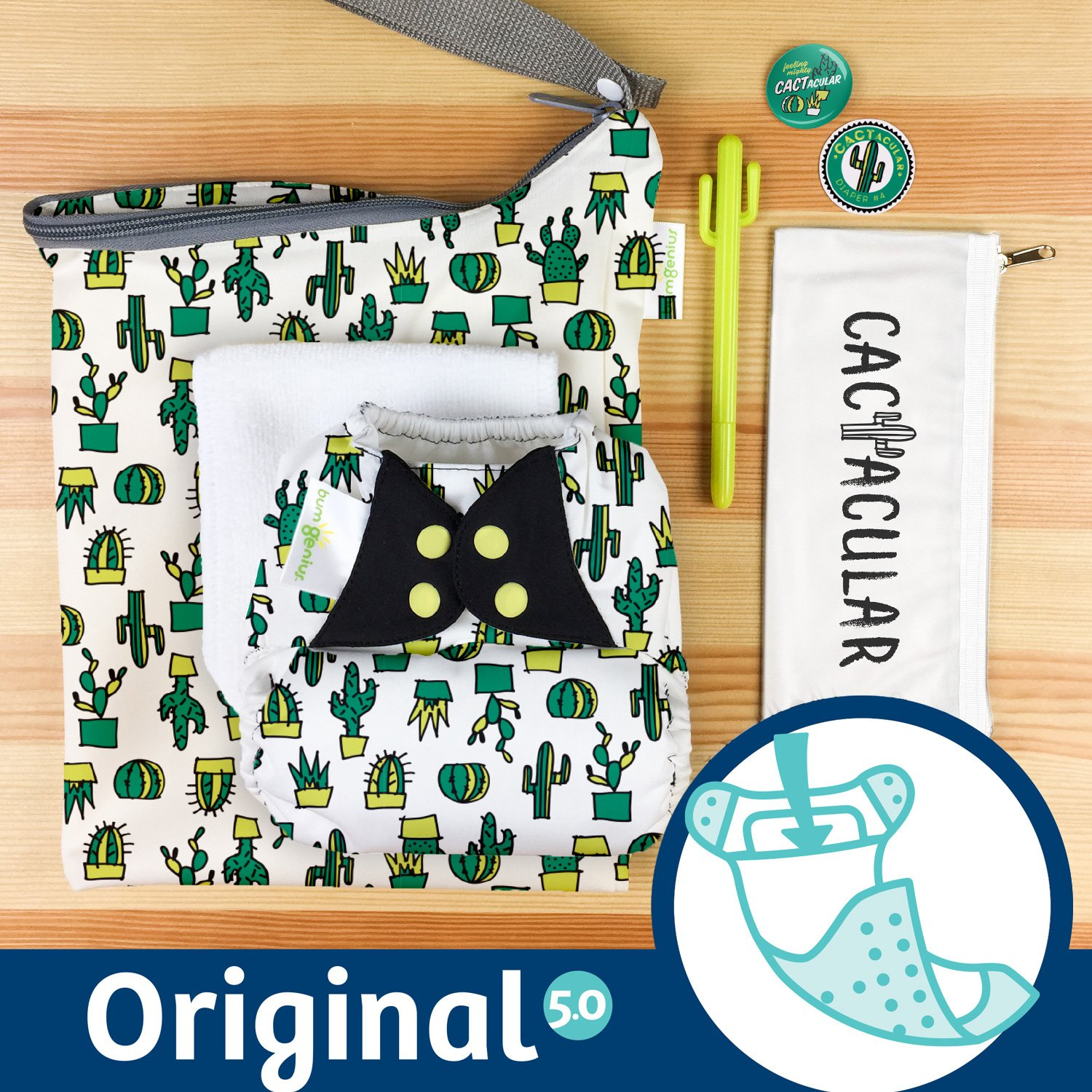 Doodles Collection: bumGenius Original One-Size Pocket-Style Cloth Diaper 5.0 (CACTacular