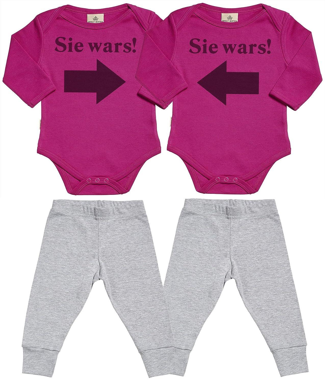 SR - Sie Wars! Sie Wars! Baby Zwillinge Set Baby Strampler & Schwarz Baby Jerseyhose - Baby Zwillinge Body & Baby Zwillinge Hosen Baby Zwillinge Outfit DESRT3_TW-BL