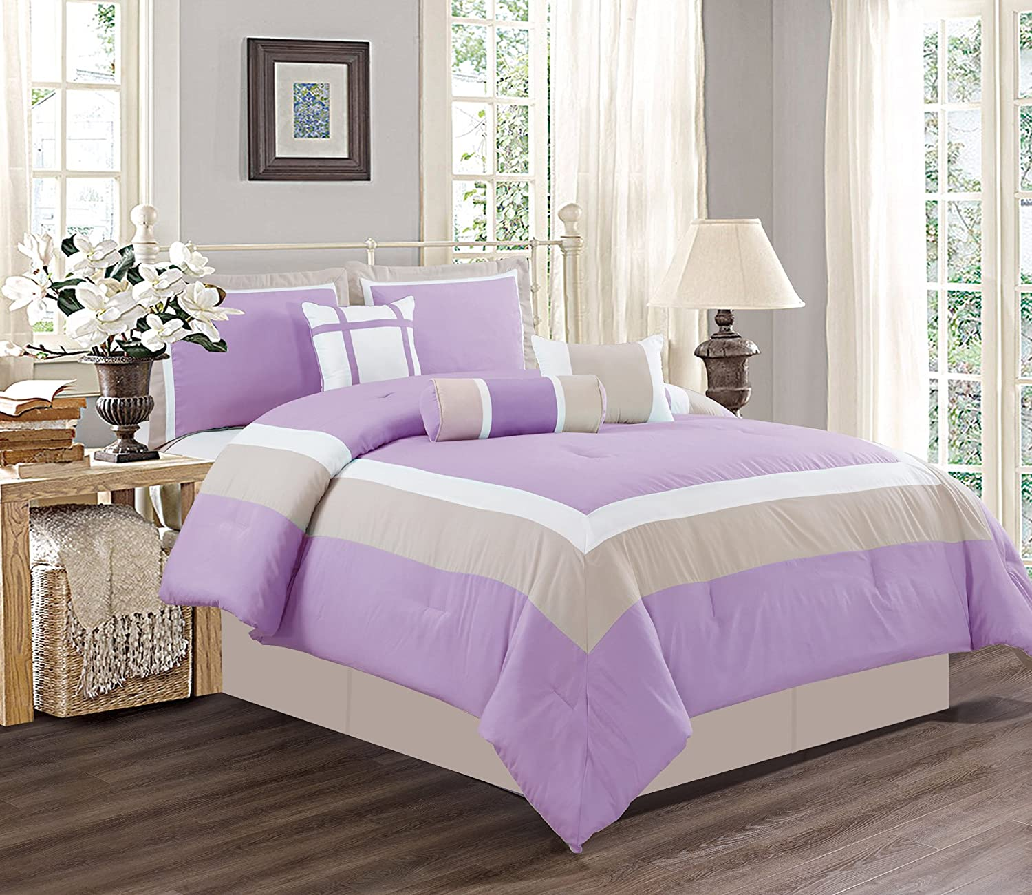 7 Piece KING Size LILAC PURPLE / WHITE / GREY Color Bedding Set