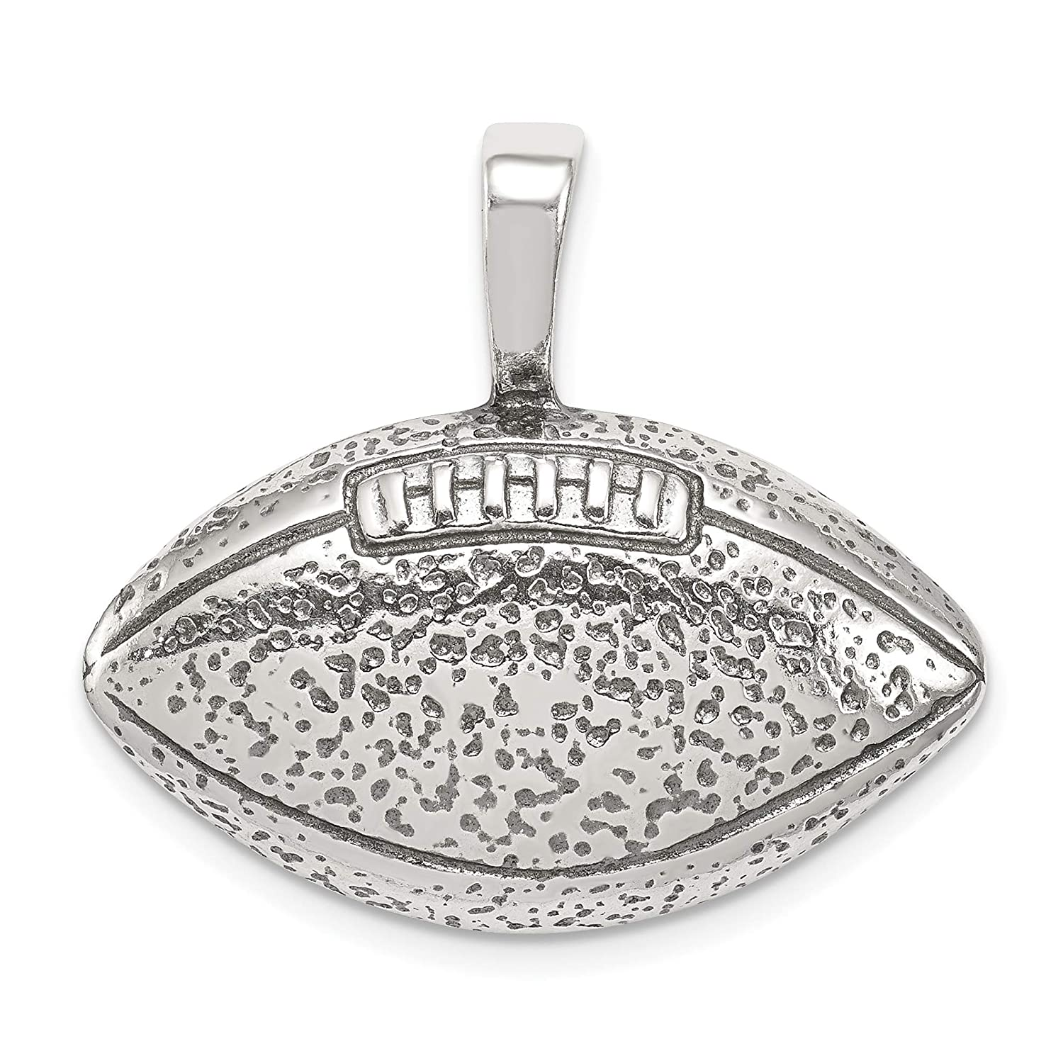 Solid Open-Back Football Pendant in Antiqued 925 Sterling Silver 28x28mm
