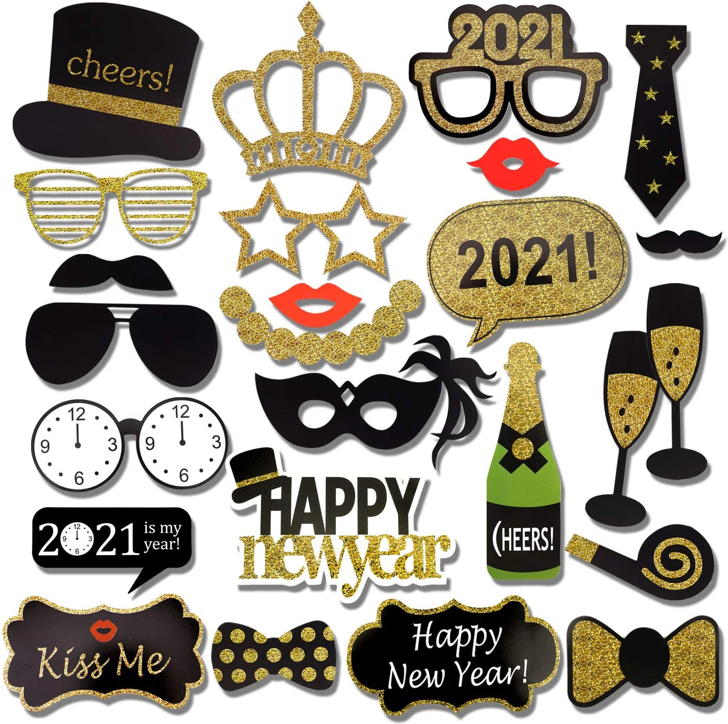 2021 New Years Photo Booth Props Kit(25Pcs), Konsait Funny New Years Eve Party Photo Booth with Stick for Adult Kids Women Man Party Accessories for 2021 New Year Party Decor Decoration Favor Supplies