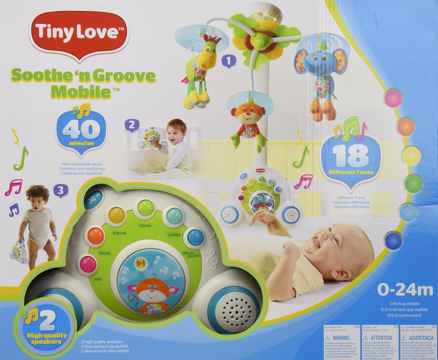 Blue, Baby Mobile with 18 Different Tunes & Music Shuffle Button by Tiny Love (Image #2)
