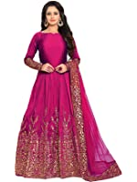 Ethnic Yard Women's Silk Dress Material (F1075-Rani_Free Size_Rani)
