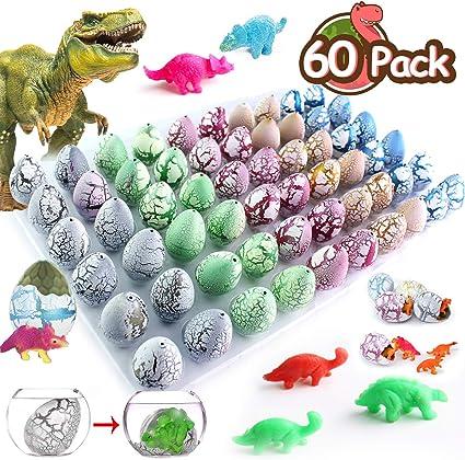 60pcs Kid Toy Hatching Animal Dinosaur Egg in Water Growing Pet Egg Figure Model