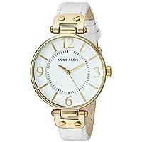 Anne Klein Women's 109168WTWT Gold-Tone Round White Leather Strap Watch