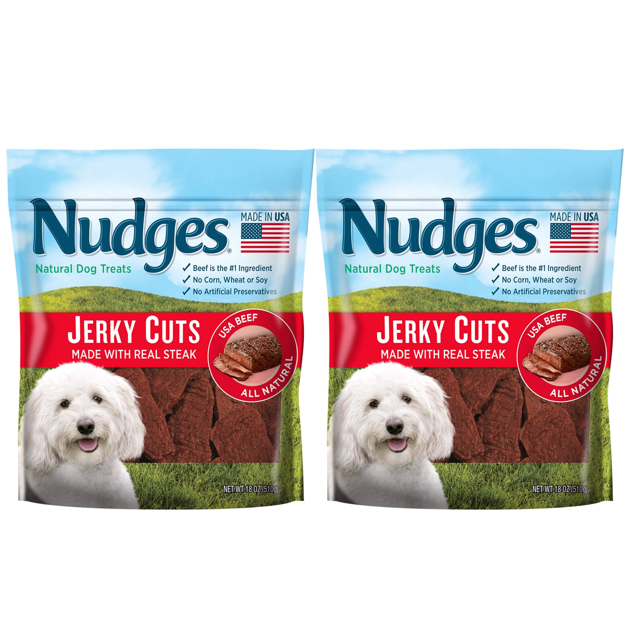 Nudges Jerky Cuts Natural Dog Treats made with Real Steak 18oz (2 pack)