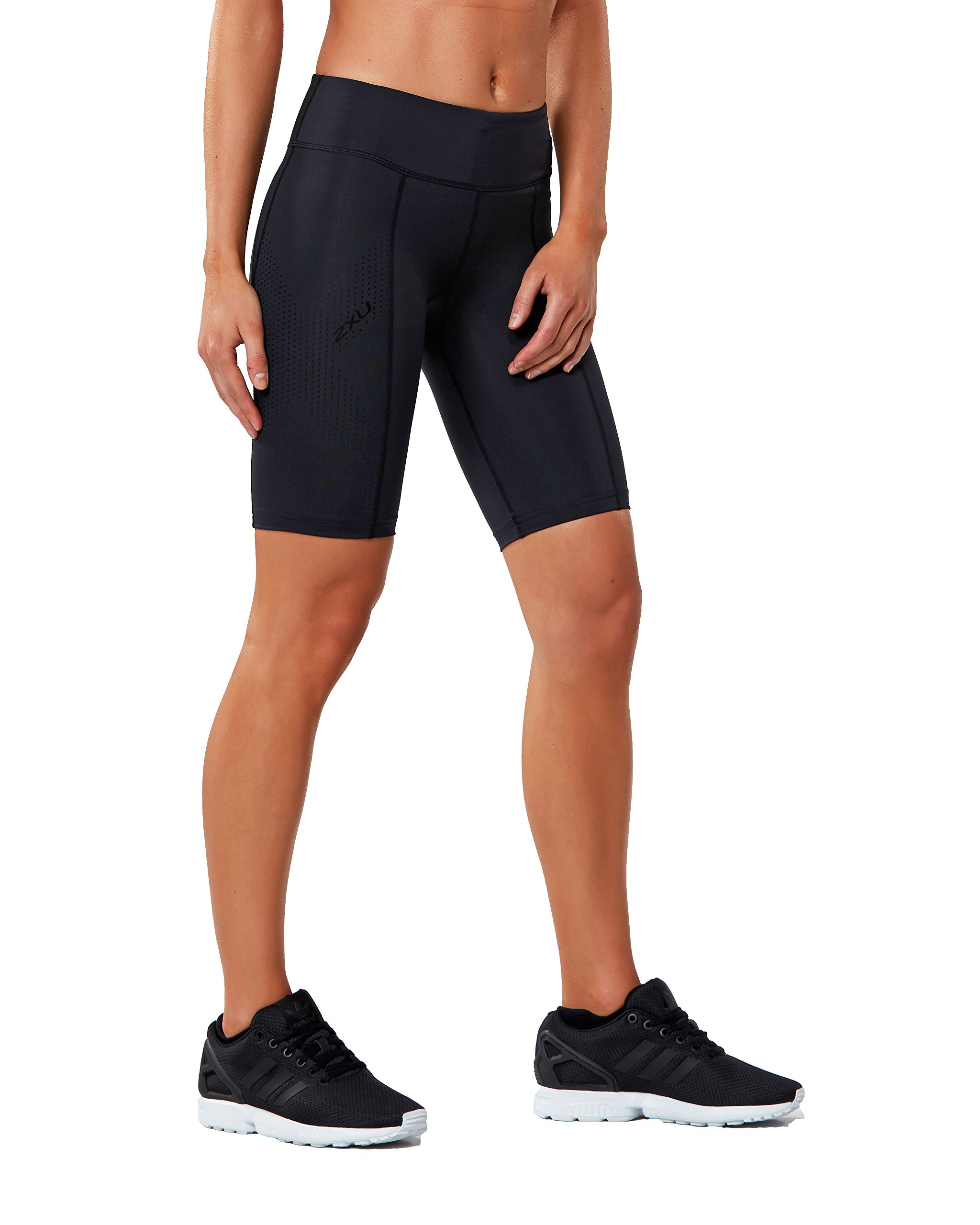 2XU Women's Mid-Rise Athletic Compression Shorts, Black/Dotted Black Logo, Small by 2XU (Image #1)