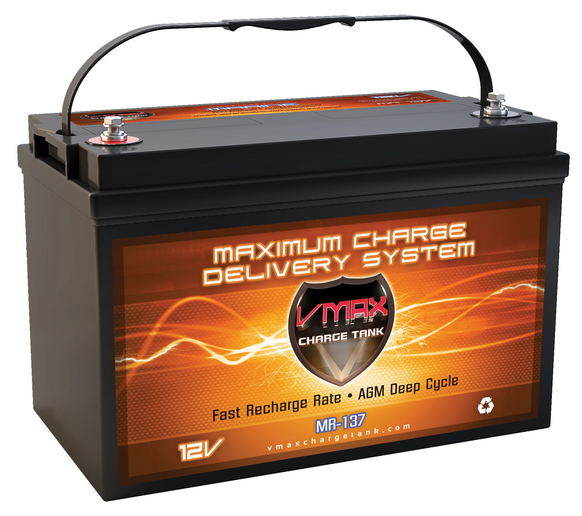 VMAX MR137-120 AGM Sealed Marine AGM Battery 12V 120AH for 50lb -110lb thrust Minn Kota, Newport Vessels, Cobra, Sevylor and other trolling motors. VMAX MR137 Deep Cycle 12V 120Ah Battery BCI group 31