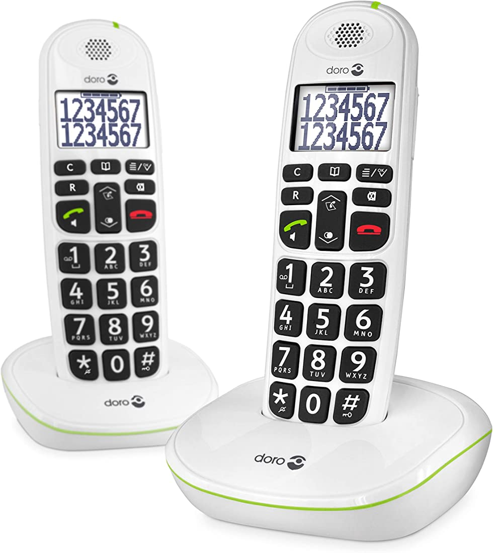 telefono cordless doro phoneeasy 110 con tasti grandi e audio amplificato (x 2 / bianco) versione italiana 5955