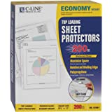 C-Line Top Loading Economy Weight Poly Sheet Protectors, Reduced Glare, 8.5 x 11 Inches, 200 per Box (62067)
