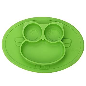 Superb Kirecoo Babies Highchair Feeding Tray Round Silicone Suction Owl Placemat  For Children, Kids, Toddlers