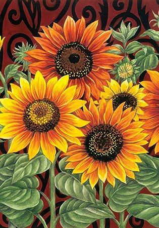 Toland   Sunflower Medley   Decorative Summer Fall Flower Floral Orange  USA Produced Garden Flag