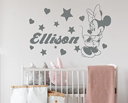 Amazon.com: Minnie Mouse Wall Decals Girl Personalized Name Decal ...