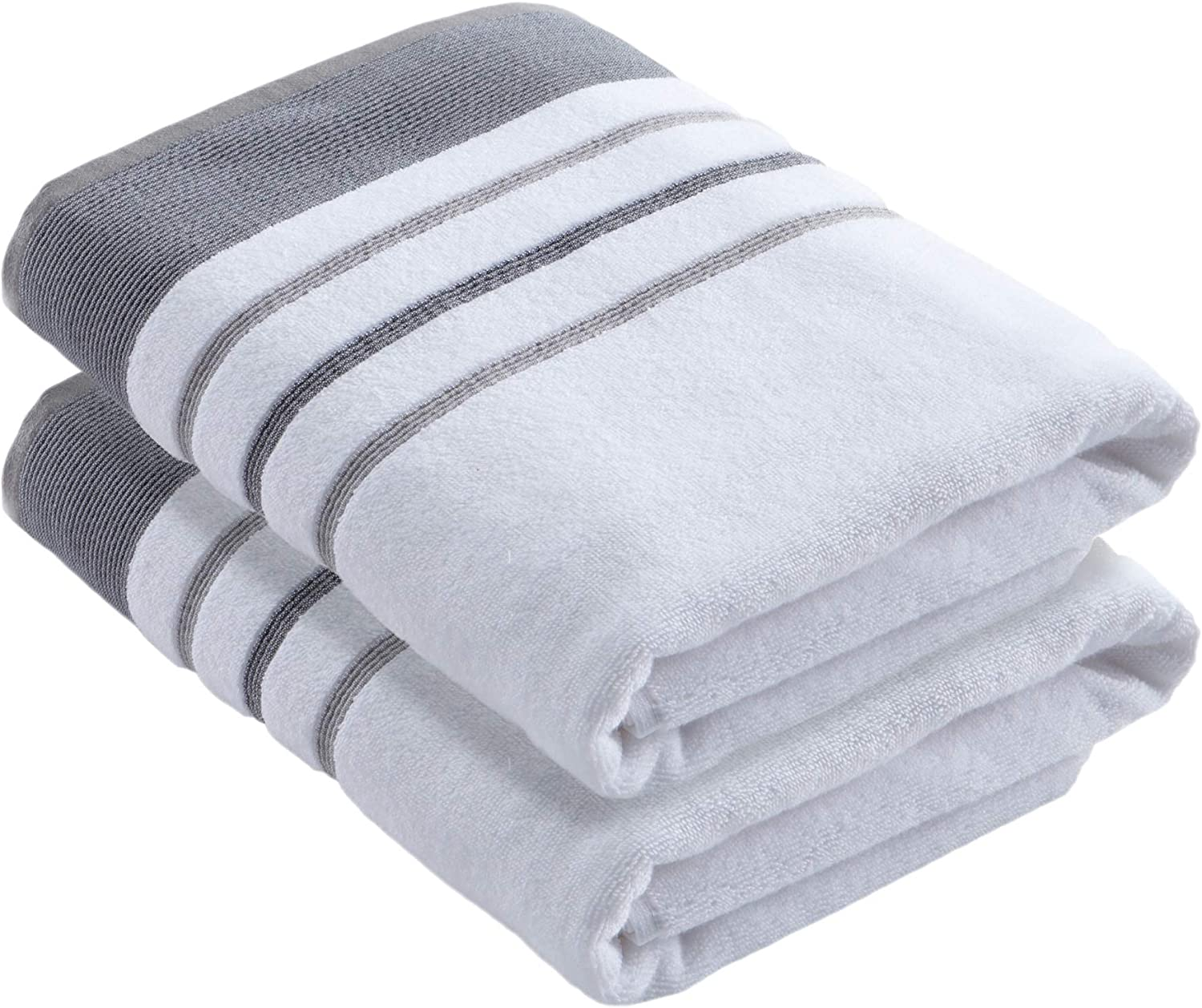 Turkish Cotton, Striped Bath Towel Set (30 x 54 inches) Oversized and Absorbent Luxury Quick-Dry Towels. Noelle Collection (Set of 2, Dark Grey / Light Grey)