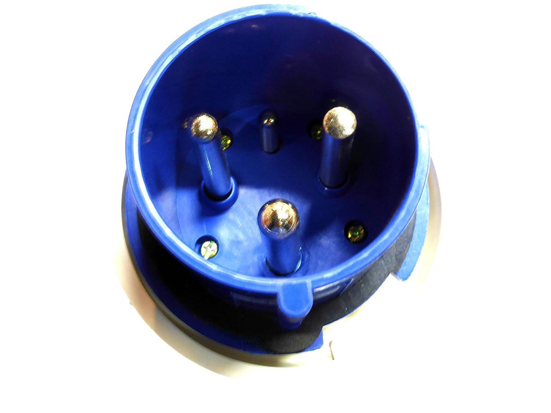 250 V IP67 2 P e impermeable azul monof/ásico conector 63 A 63 amp 3 clavijas enchufe de arrastre 220 V