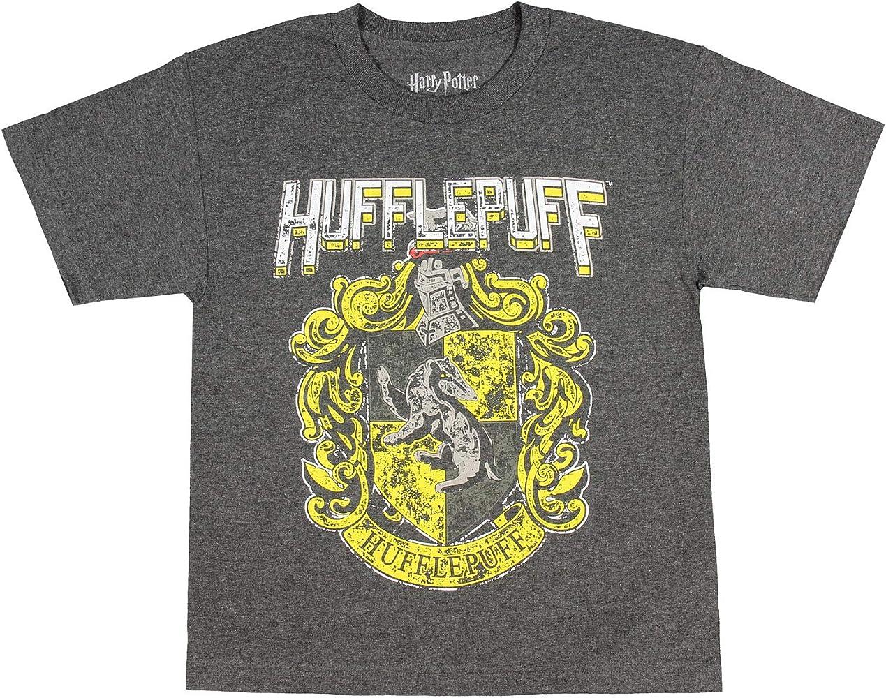 Harry Potter Hufflepuff - Camiseta con el Escudo de la casa Envejecida - Gris - Medium: Amazon.es: Ropa y accesorios