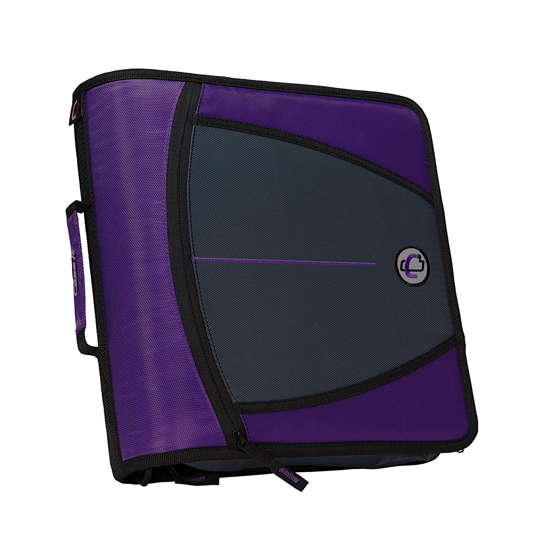 Case-it Mighty Zip Tab 3-Inch Zipper Binder, Purple, D-146