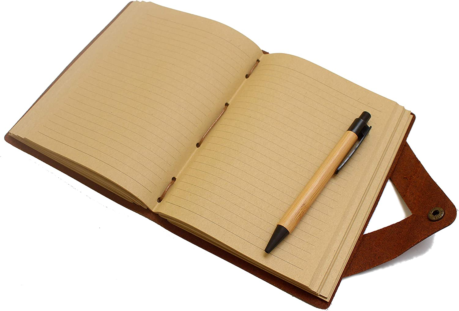 Bamboo Pen Included Vintage Classic Gift for Men Women Handmade Journal 100GSM Lined Kraft Paper 5/×7 Inches Brown Genuine Leather Writing Notebook