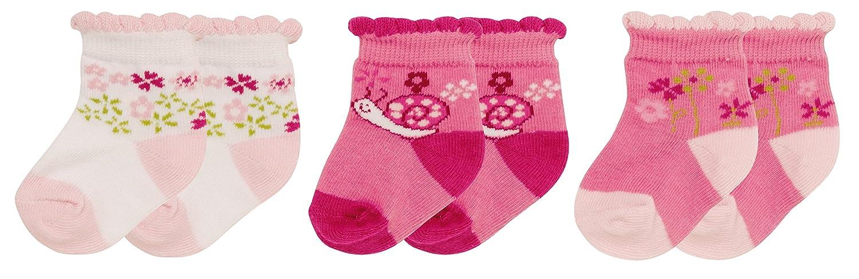 Playshoes Unisex Baby Socken Erstlingssocken Blümchen, 3er Pack, Gr. One size (Herstellergröße: 0-3 Monate) Rosa (original 900) Playshoes GmbH 495106