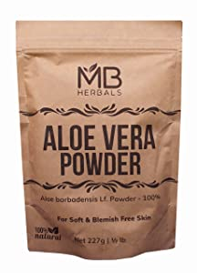 MB Herbals Aloe Vera Powder 227g | Half Pound | 100% Pure & Organically Cultivated | Natural Skin Moisturizer | Controls Blemish Acne Pimples & Fine Lines