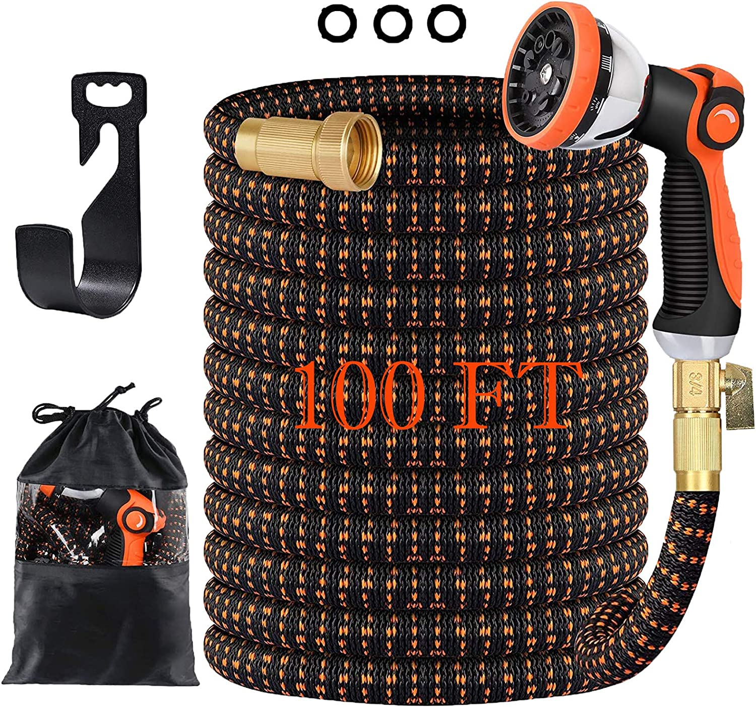 100FT Garden Hose, All New Expandable Water Hose with 10 Function Sprayer Nozzle, 3-Layer Latex Tube 3/4