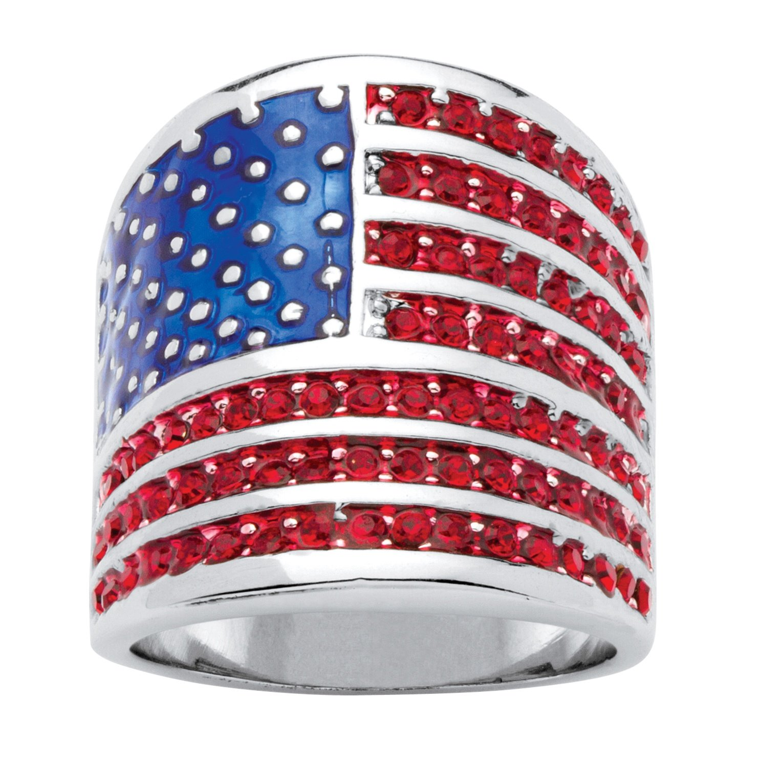 Palm Beach Jewelry Silver Tone Round Red Crystal and Enamel American Flag Ring Size 8