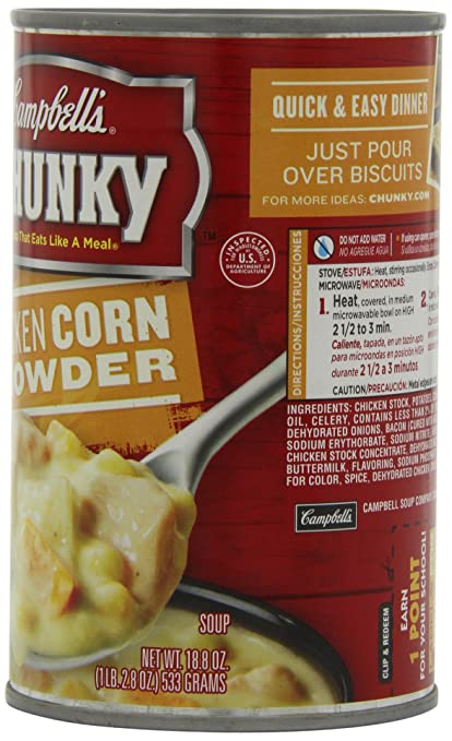 Campbells Chunky Soup, Chicken Corn Chowder, 18.8 Ounce (Pack of 12)
