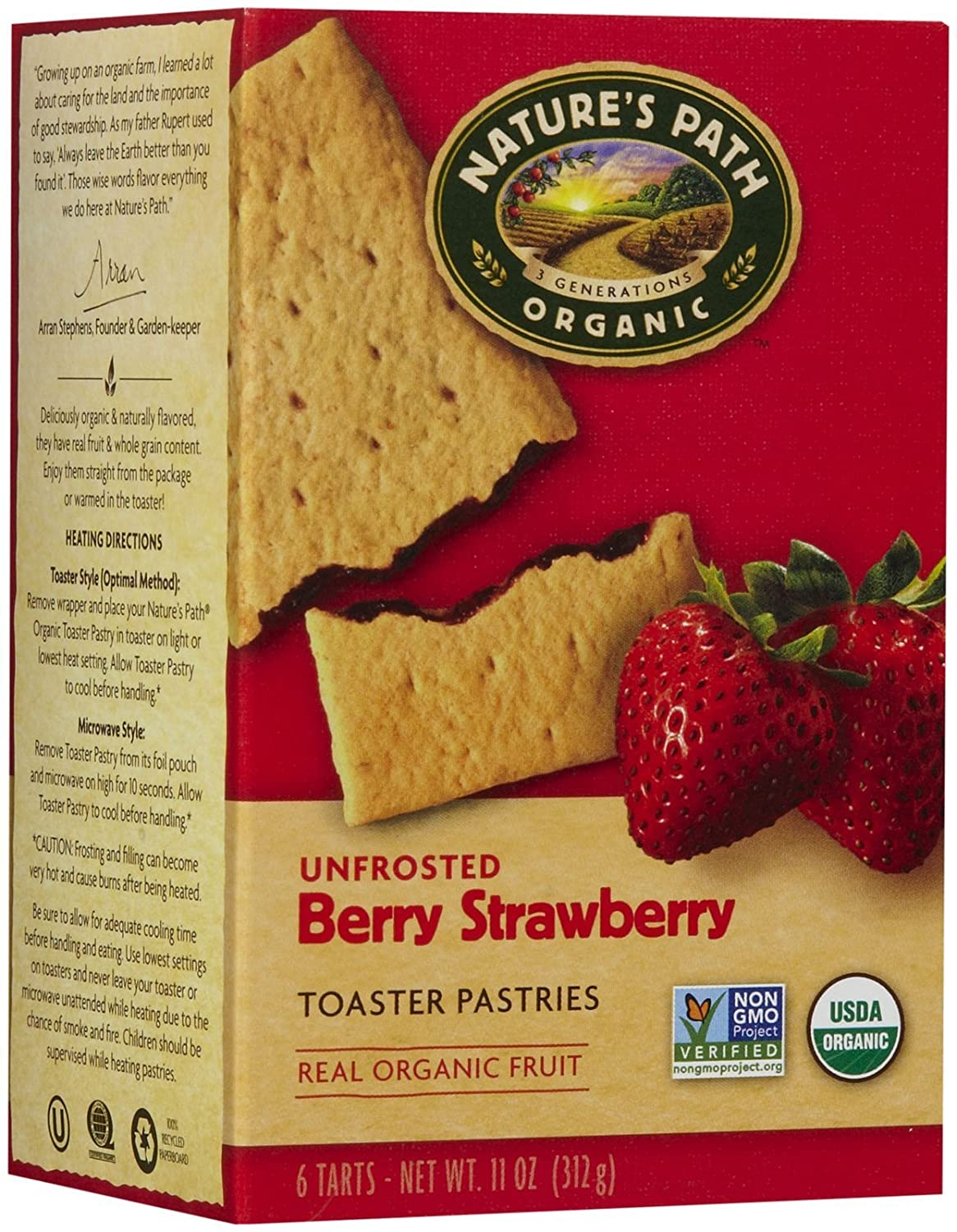 Nature's Path Un-Frosted Toaster Pastry - Strawberry - 11 oz - 6 ct