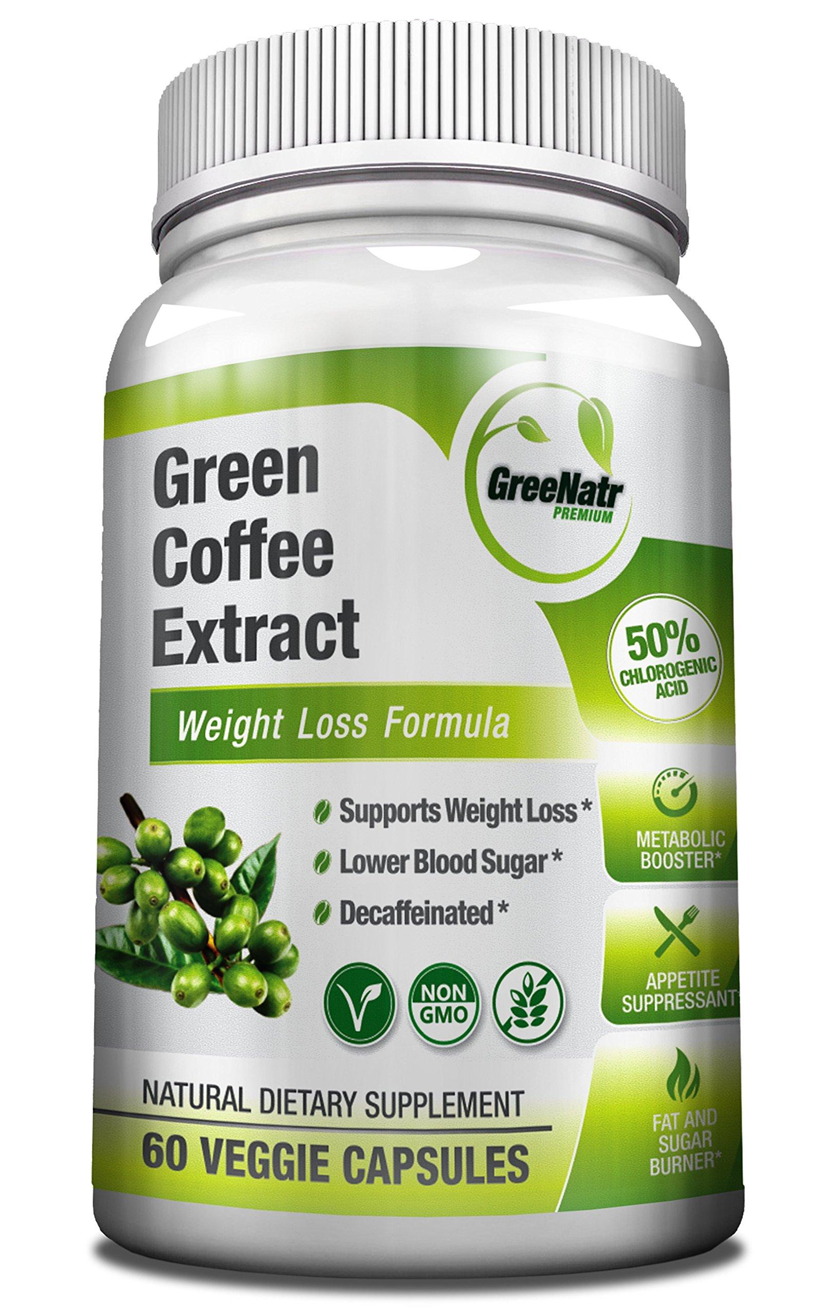 GreeNatr Premium Pure Green Coffee Bean Extract | Weight Management Pills, Appetite Suppressant, Energy Pills, Blood Sugar Control Support | 60 Capsules, Gluten-Free, Non-GMO, 50% Chlorogenic Acids by GreeNatr