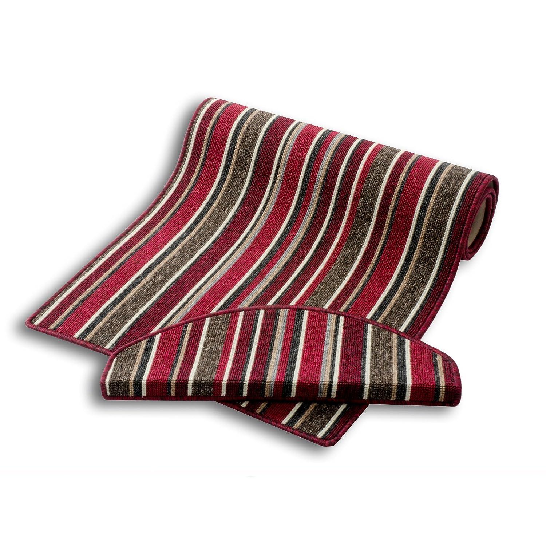 Stufenmatten   Rot Gestreift   Qualitätsprodukt aus Deutschland   Gut Siegel   Kombinierbar mit Teppich Läufer   65x23,5 cm   halbrund   15er Set
