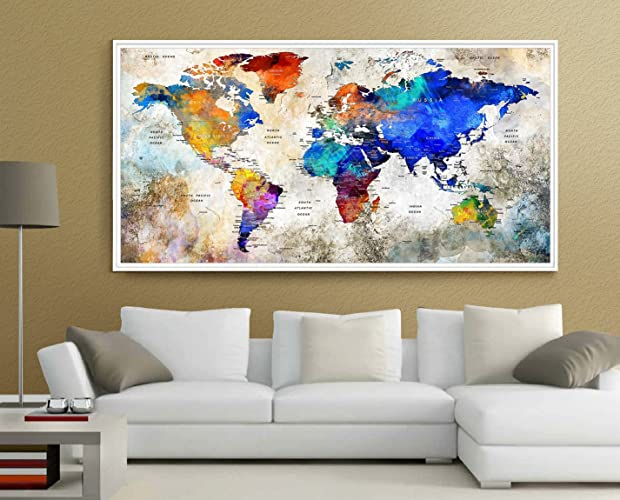 Amazon push pin world map large wall art world map watercolor push pin world map large wall art world map watercolor countries world map with large gumiabroncs Choice Image
