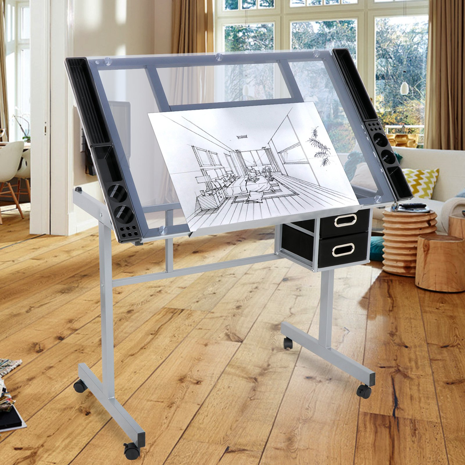 ZENY Adjustable Drawing Table Top Rolling Drafting Desk Tempered Glass Top W/2 Slide Drawers & Rolling Wheels by ZENY