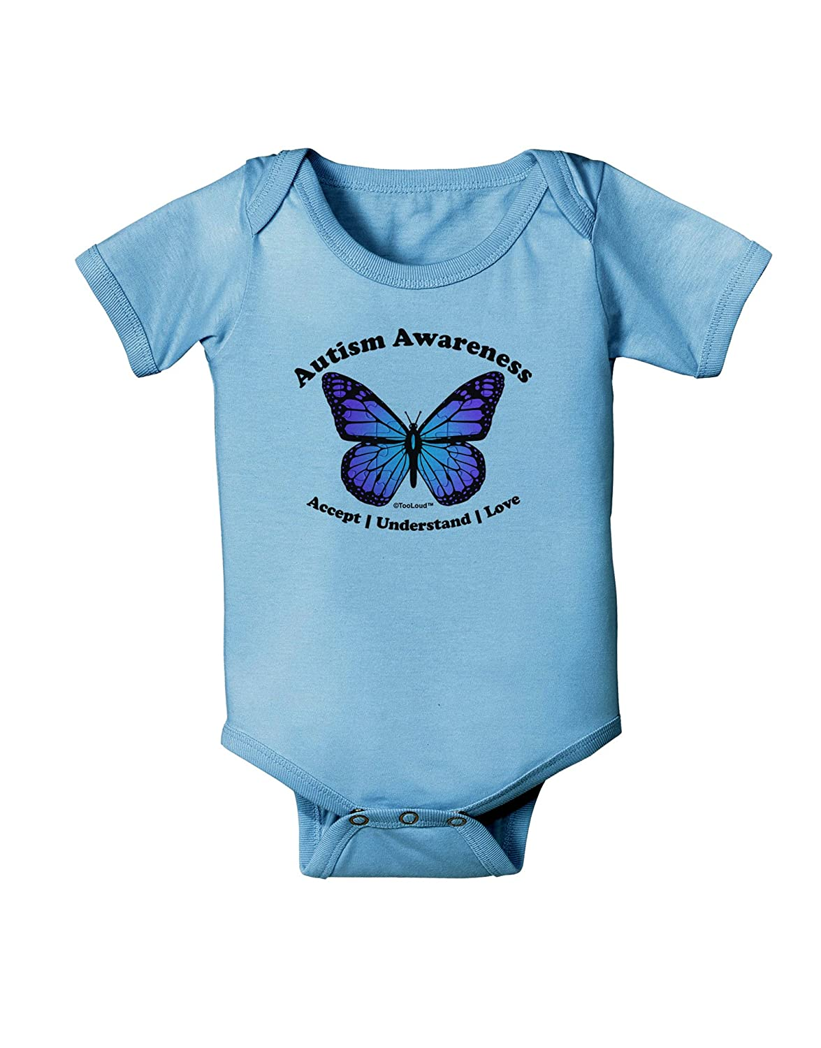 TooLoud Autism Awareness Puzzle Piece Butterfly Baby Romper Bodysuit