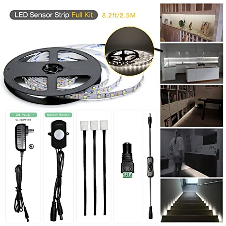 Sensky Motion Sensor LED Under Cabinet Lighting Kit Extendable Under  Counter LED Light With Motion Sensor