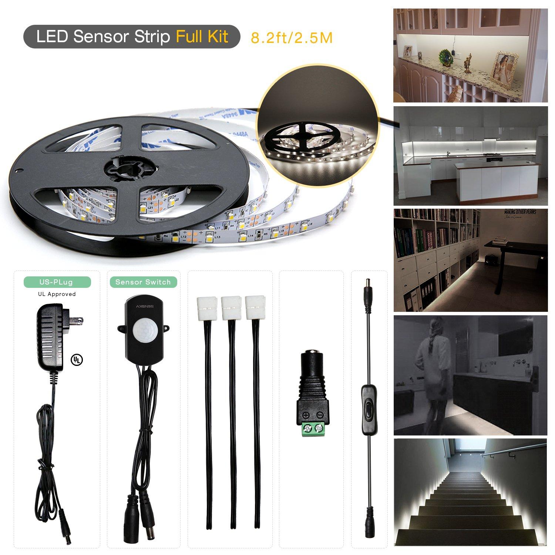 Sensky Motion Sensor LED Under Cabinet Lighting Kit Extendable Under Counter LED Light with Motion Sensor, Power Adapter for Gun Safe Light, Shelf, TV Wall Lighting ( 8.2FT ,3000-3500K )