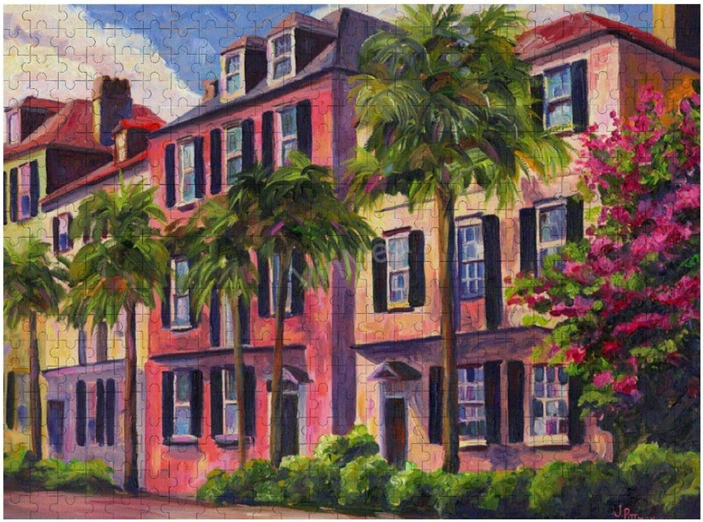Jigsaw Puzzle, Puzzles for Adults and Kids 300 Pieces - Rainbow-Row-Charleston-Sc-Jeff-Pittman Home Decor & Game Art of Kids