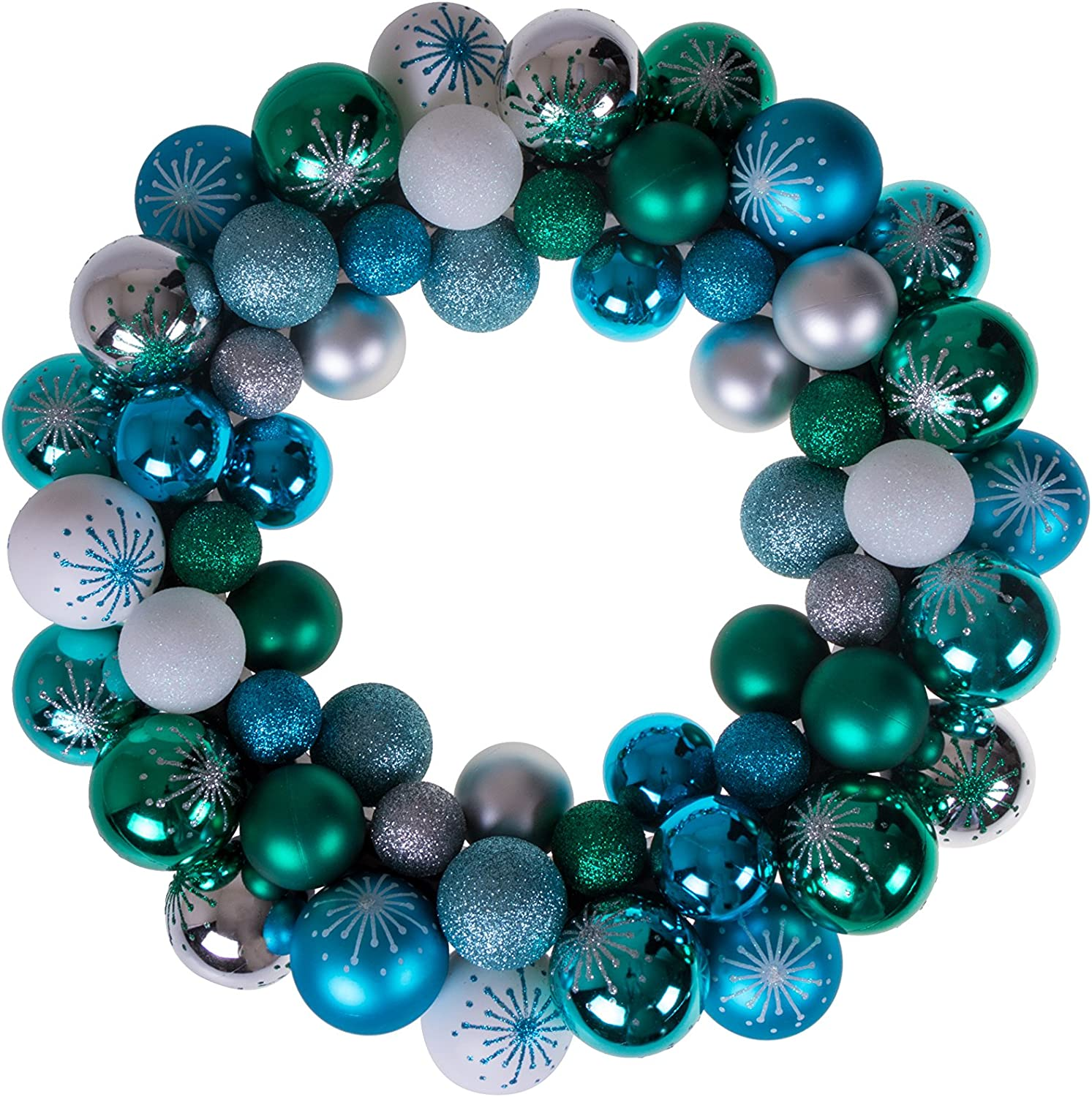 "Clever Creations Christmas Ornament Wreath Blue, Green, White & Silver | Festive Holiday Décor | Modern Theme | Lightweight Shatter Resistant | Indoor/Outdoor Various Use | 13.5"" x 13.5"" x 2.75"""