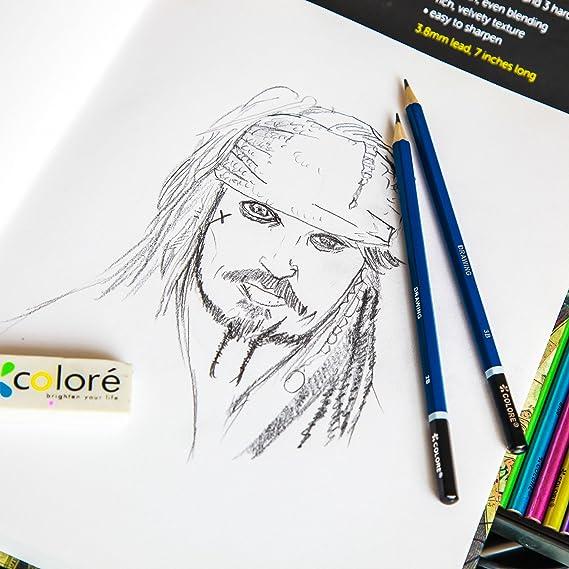 Colore - Juego de 50 lápices premium metálicos, acuarela, dibujo ...