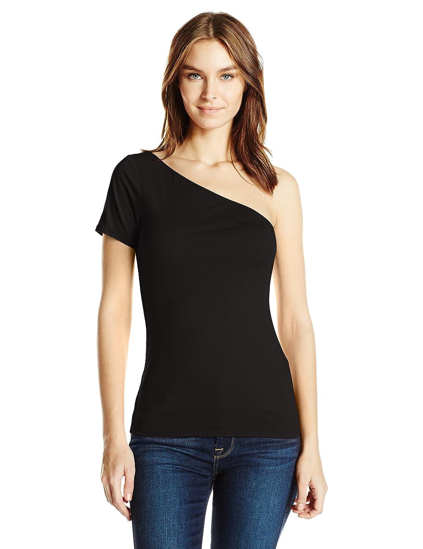 Black Velvet Womens Gauzy Whisper One Shoulder Top TShirt
