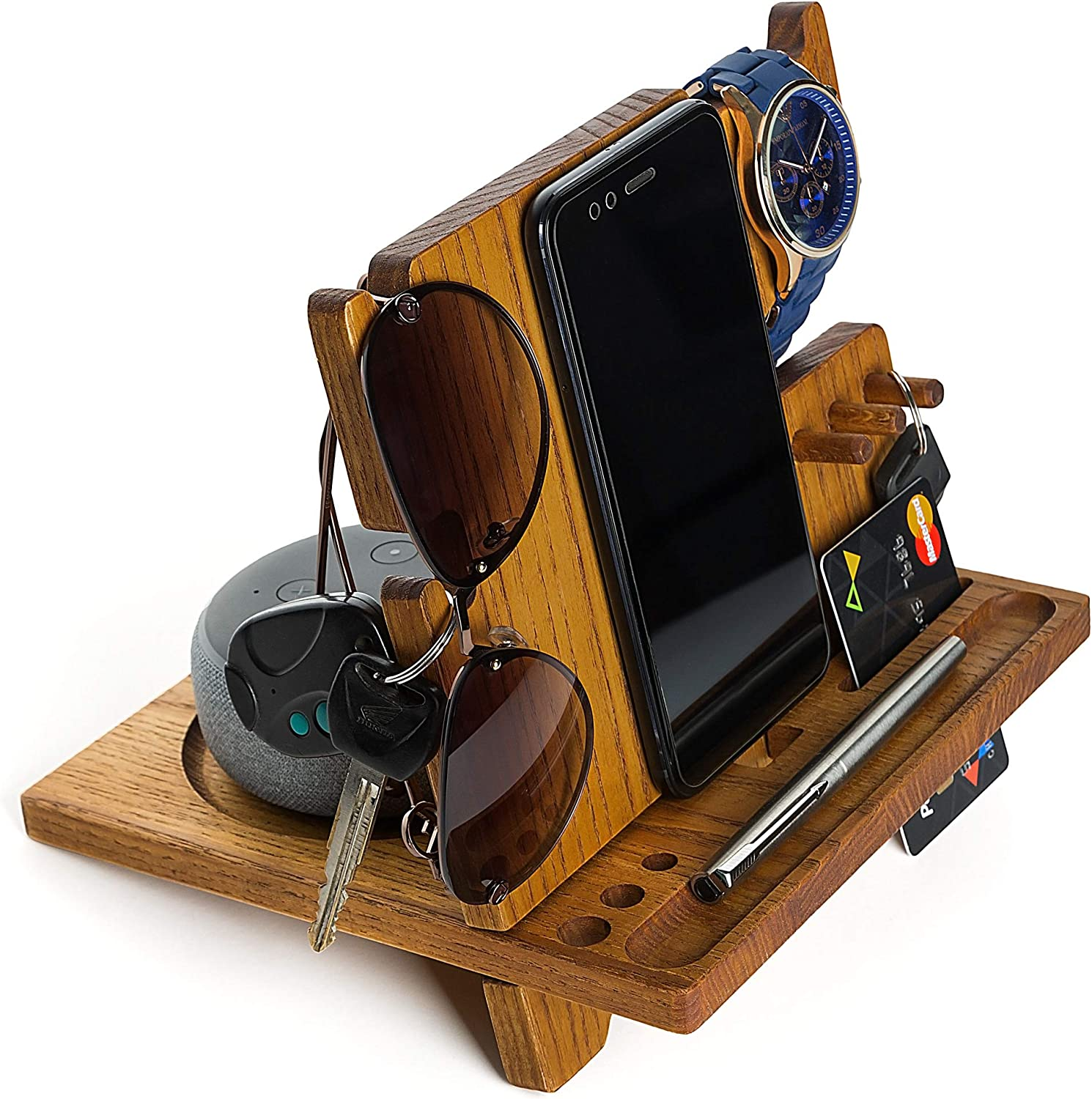 Wooden Phone Docking Station Desk Organizer Night Stand for iPhone Watch Sunglasses Keys Top Men's Anniversary Christmas for Dad Husband Men Him Father's Day Present Bed Side Valet Tray ash-Tree Wood