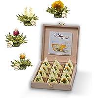 Creano Teelini thee bloemen in kopjesformaat, cadeauset in houten theekist, 12 theebloemen in 4 variëteiten - Witte Thee