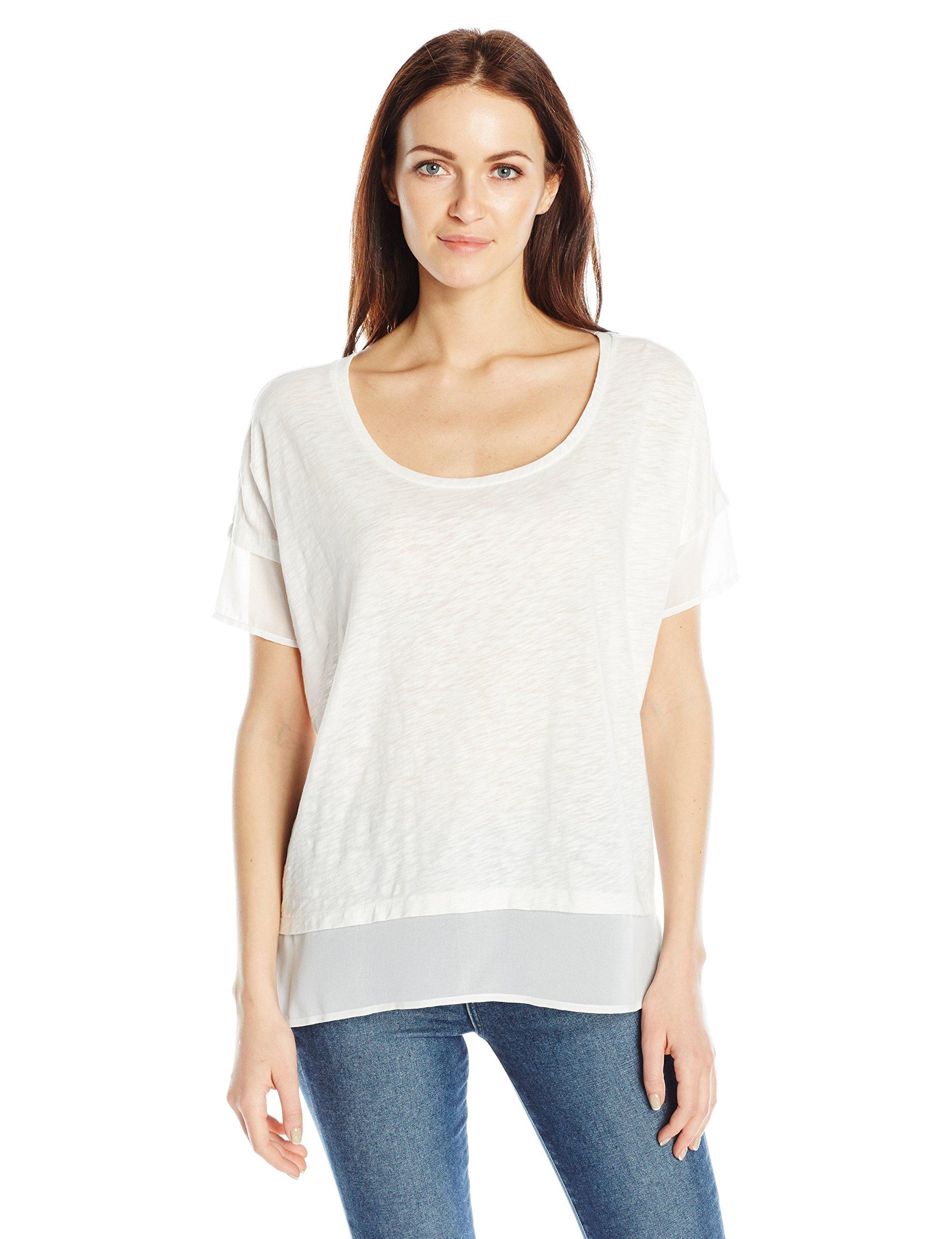 French Connection Women's Fresh Slub Jersey Top, Summer White, L