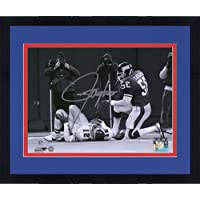 """$118 » Framed Lawrence Taylor New York Giants Autographed 8"""" x 10"""" Black & White Celebration Kneel Photograph - Fanatics Authentic Certified"""
