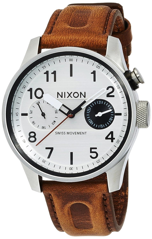 [ニクソン]NIXON 腕時計 SAFARI DELUXE LEATHER: SILVER/BROWN NA9771113-00 メンズ 【正規輸入品】 B01HEWOTGC