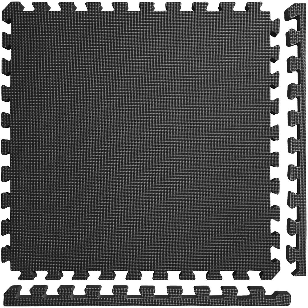 Meister X-Thick 1.5'' Interlocking EVA Foam Mats - 2X Cushion for Wrestling, MMA Takedowns & Gymnastics - 2'x2' Tiles - Black - 25 Tiles (100 Sqft) by Meister MMA